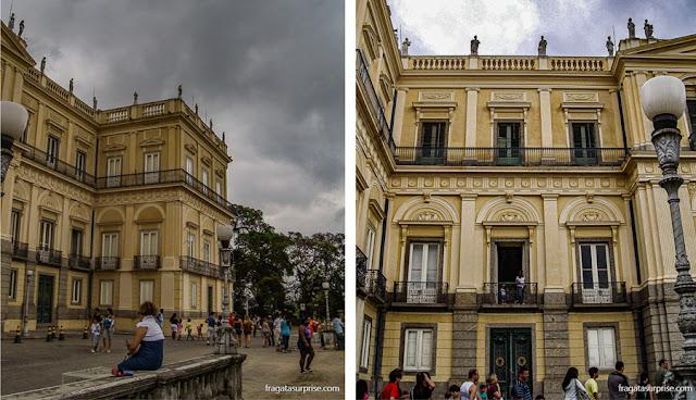 fachada do Paço Imperial, na Quinta da Boa Vista, sede do Museu Nacional
