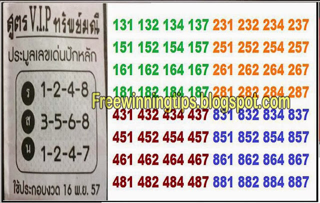 Thai Lotto HTF Tip Paper 16-11-2014