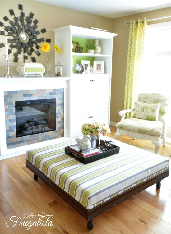 Lime Green Striped DIY Living Room Ottoman