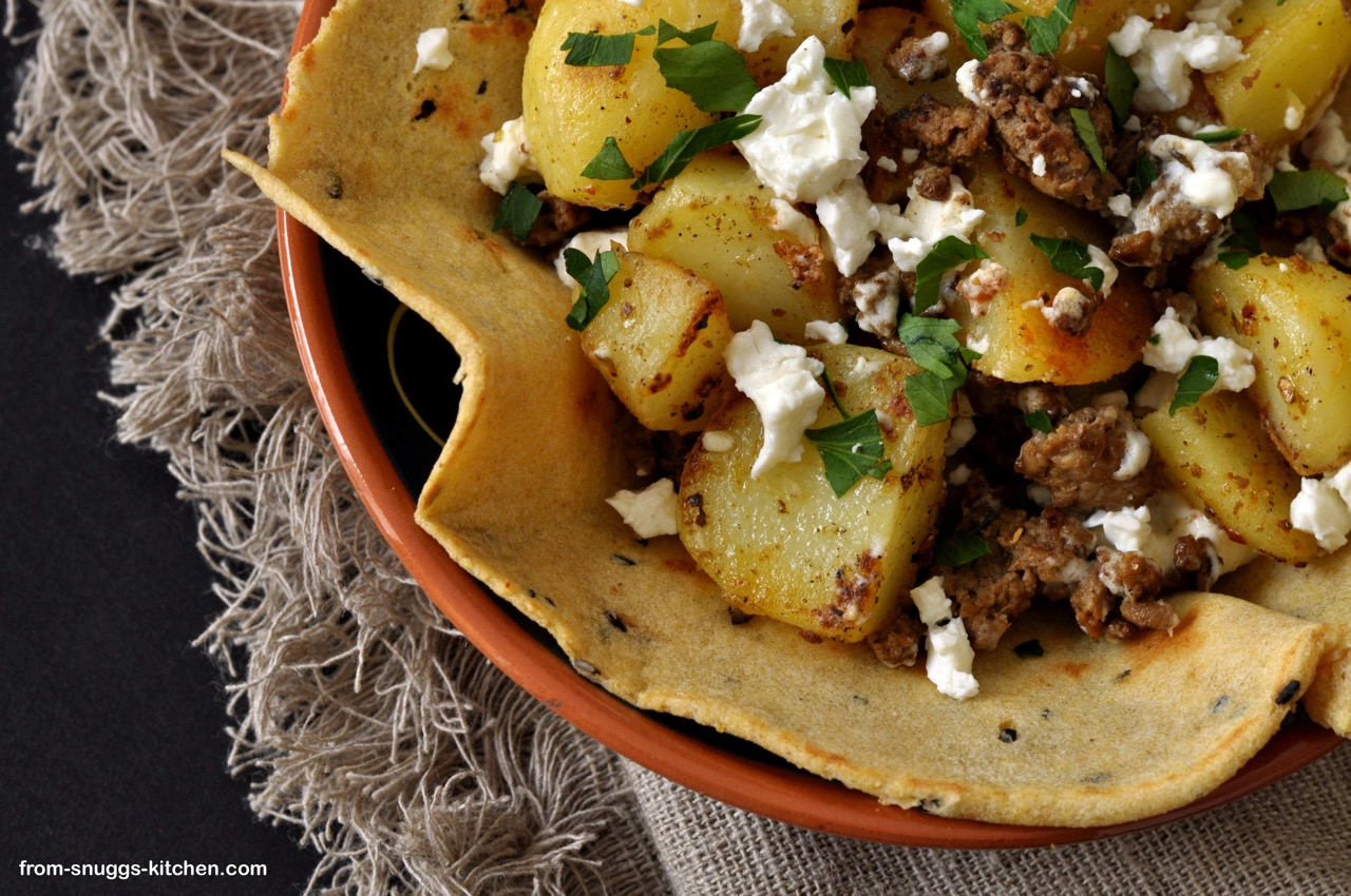 taco with potatoes and feta
