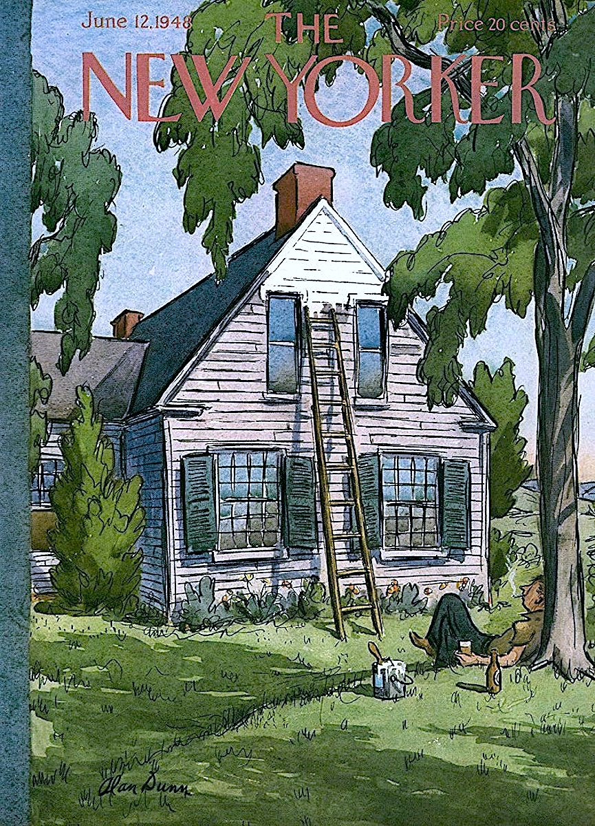 an Alan Dunn illustrationf for the June 1948 New Yorker magazine, a lazy man painting a house