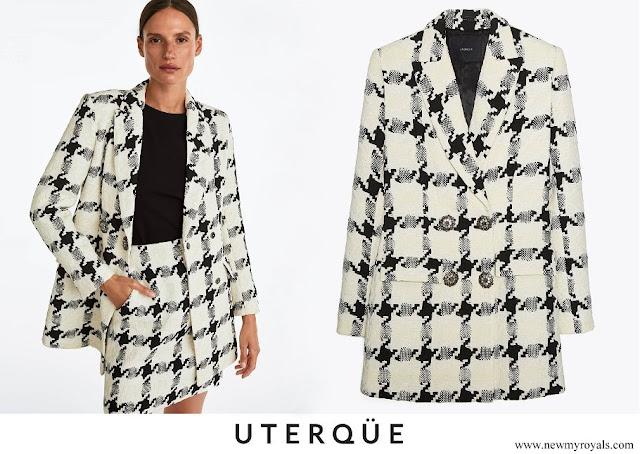 Queen Letizia wore Uterque Houndstooth Blazer