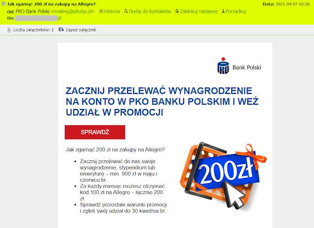"""Mail """"Jak zgarnąć 200 zł na zakupy na Allegro?"""" od PKO BP"""