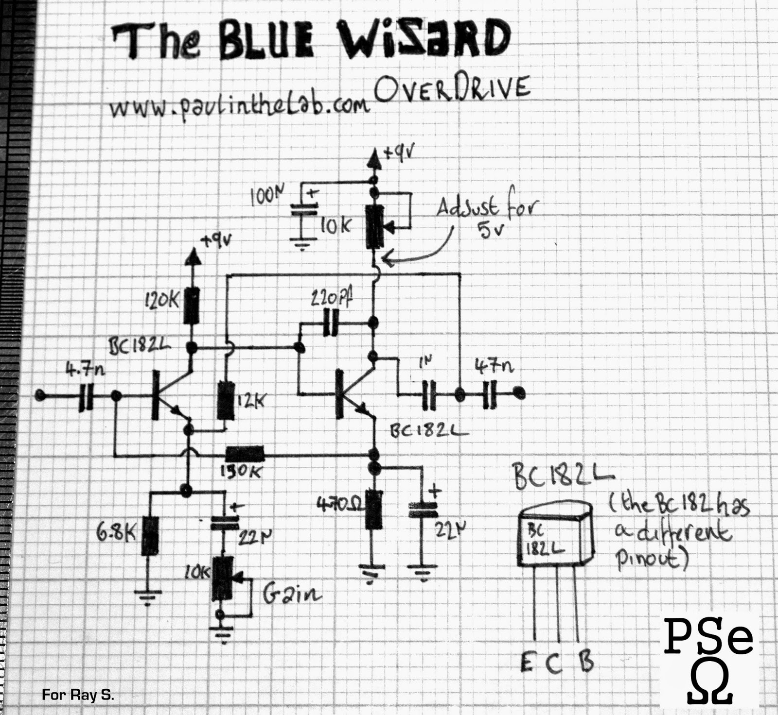 paul in the lab blue wizard overdrive distortion stripboard
