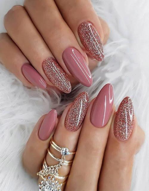 uñas rosa gold  elegantes