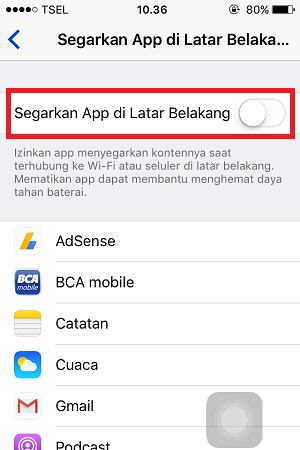settingan iphone aplikasi mode latar belakang
