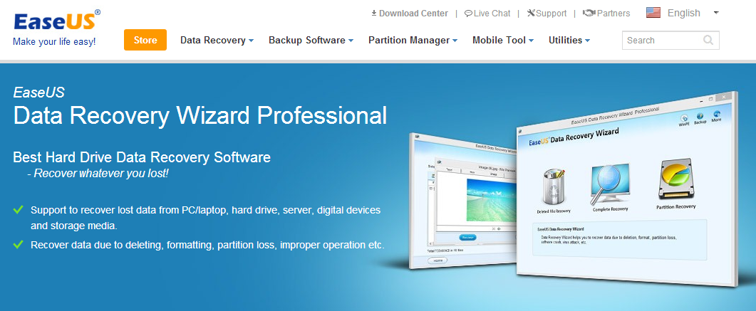 Easily Recover lost data with EaseUS Data Recovery Wizard