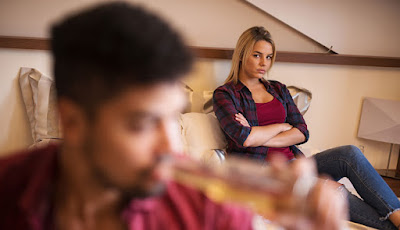 Complicated Relationship woman angry sad couple fighting  man ignore busy