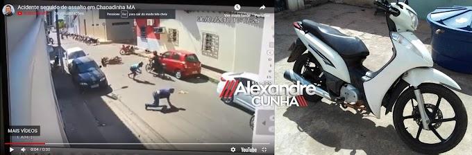 Polícia Militar recupera moto tomada de assalto durante acidente no centro de Chapadinha