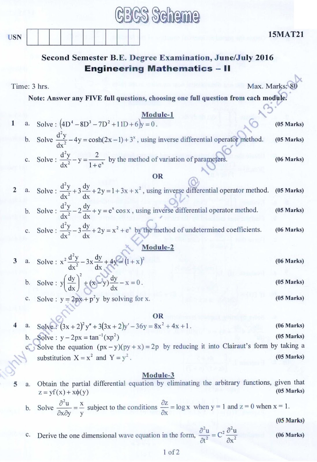 E paatashala vtu be 1st year question paper engineering branch name first year all branches semester 1st 2nd semester subject name engineering mathematics 1 subject code 15mat21 malvernweather Image collections
