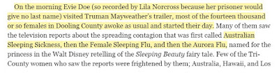 On the morning Evie Doe (so recorded by Lila Norcross because her prisoner would give no last name) visited Truman Mayweather's trailer, most of the fourteen thousand or so females in Dooling County awoke as usual and started their day.