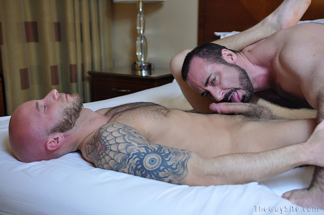Muscle tattooed hunk Drake Jayden/ Jaden and sexy bear Rocky LaBarre