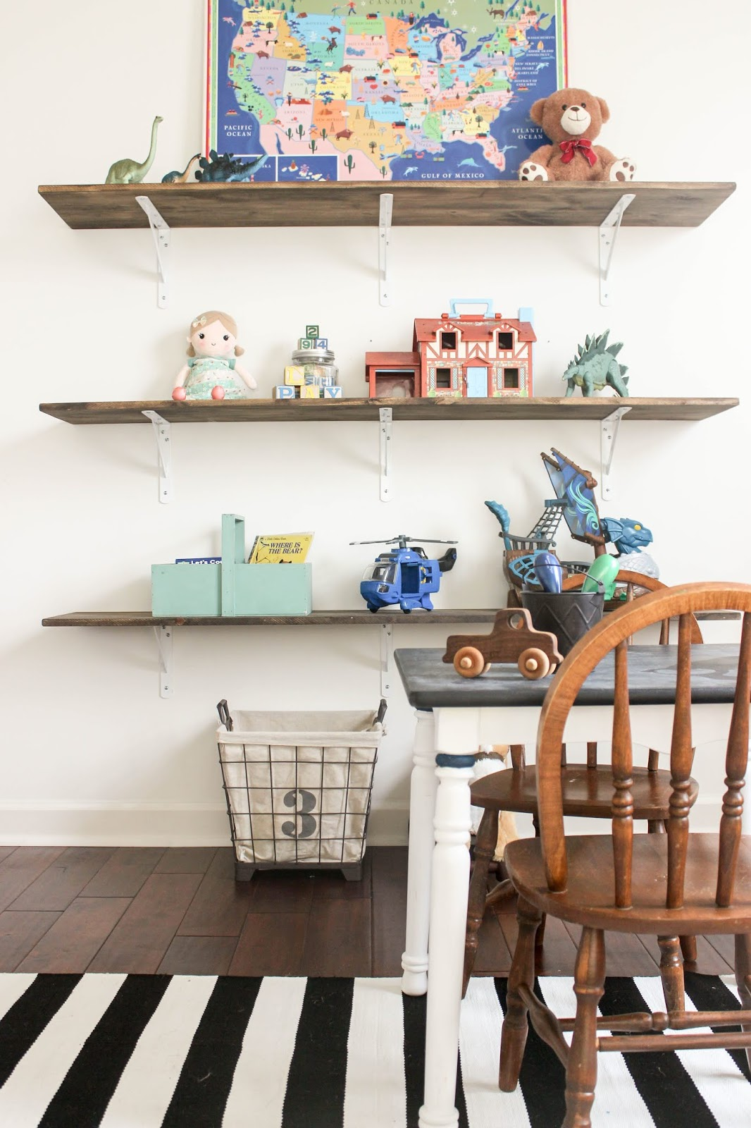 DIY Playroom Shelving Storage