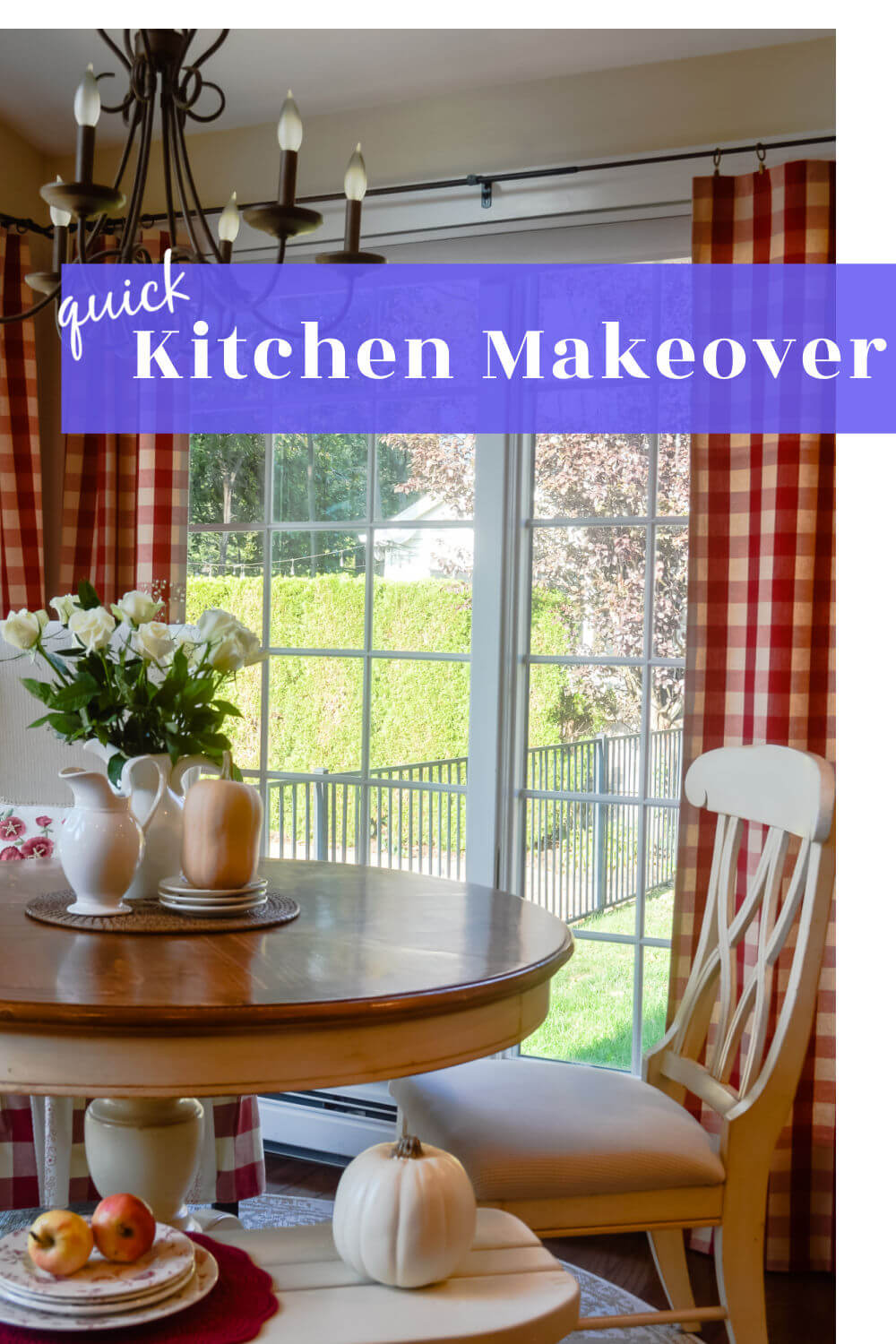 Quick Kitchen Makeover text over red and white kitchen nook