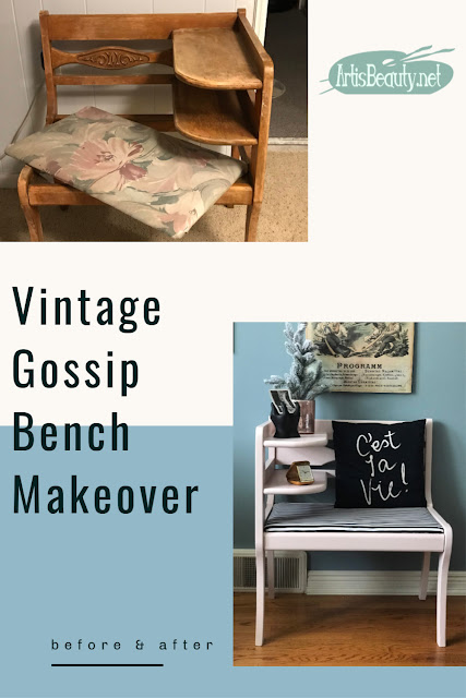 Vintage Gossip Bench Makeover before and after using General Finishes Milk Paint in ballet pink and black and white striped fabric