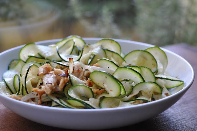 Zucchinisalat mit Filetstücke Hähnchen-Art