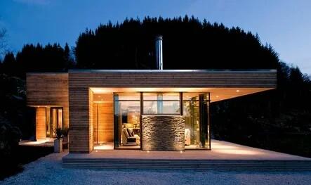 Spacious rectangular house with large double-glazed windows