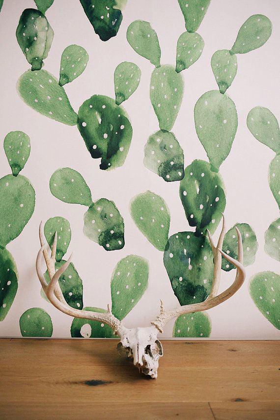 decoration papel pintado cactus pintar decoración acuarelas