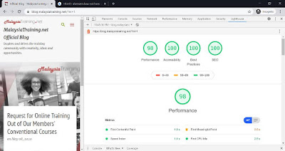 Lighthouse Audit Report on Blogger Emporio Template