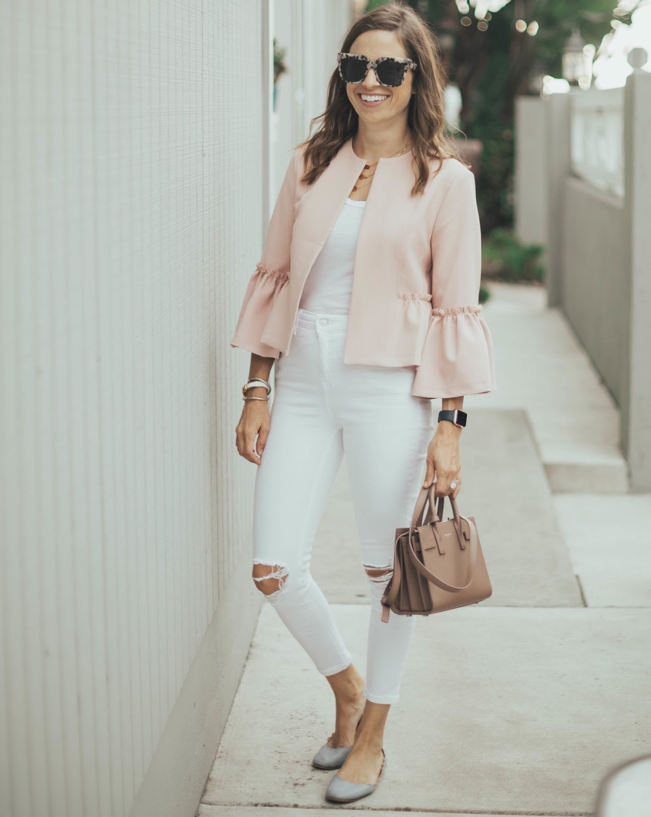 blush ruffle sleeve jacket