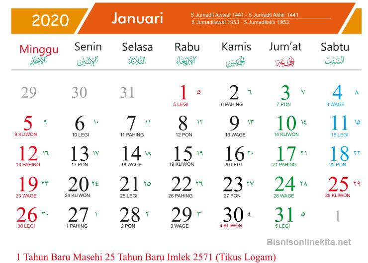 kalender 2020 januari