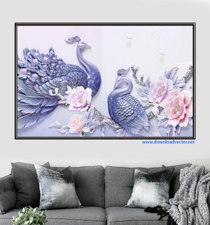 Tranh Cặp Chim công