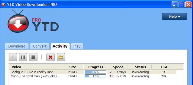 YTD Video Downloader PRO Downloading Speed