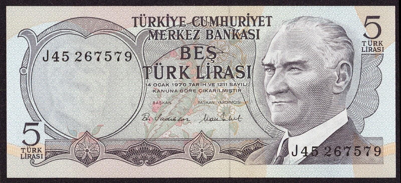 """Turkey Banknotes 5 Türk Lirasi """"Turkish Lira"""" note 1970 Mustafa Kemal Atatürk"""