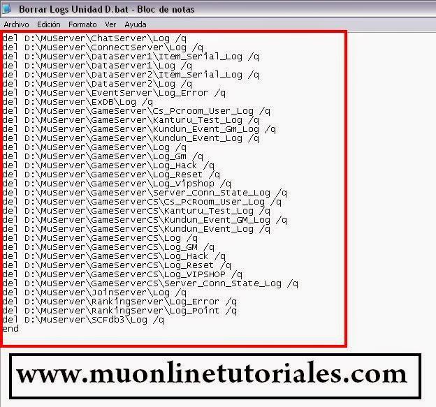 Código para borrar los logs del MuOnline