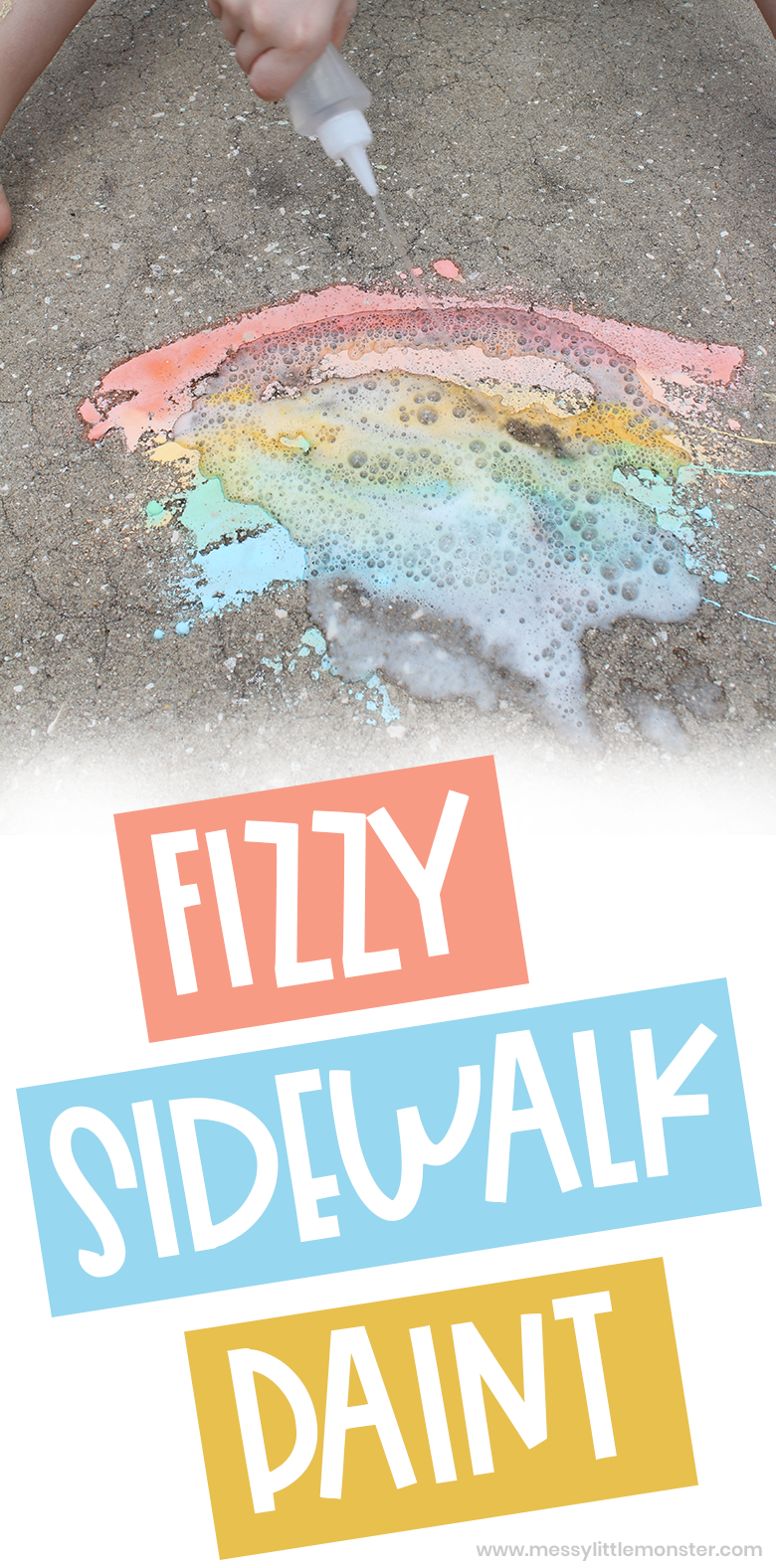 How to make fizzy homemade sidewalk chalk paint using a baking soda and vinegar reaction. Rainbow craft for kids.