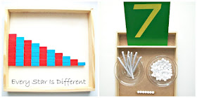 Counting to 10 using the Montessori Numerical Rods and making seven math bead bars using white beads and pipecleaners.