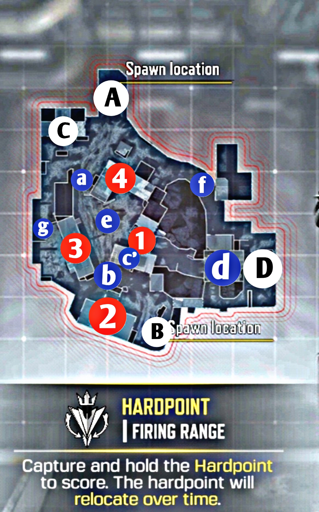 Location of main places in firing range