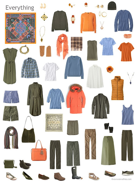 a capsule wardrobe in olive green, orange, and shades of blue