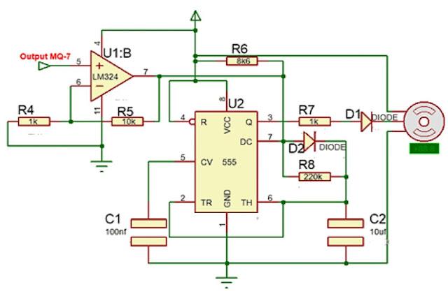 . Implementasi Sensor Gas MQ-7 dengan motor servo