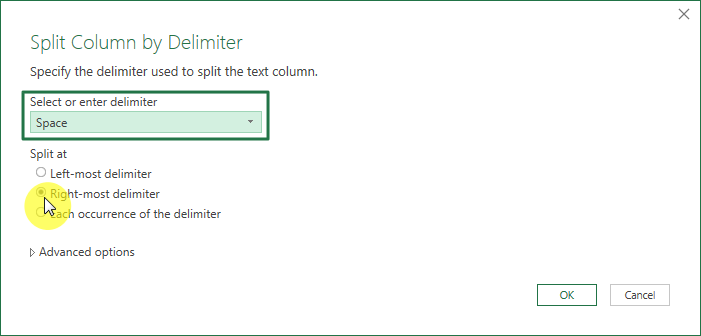 memisahkan nama depan, tengah dan belakang di Excel