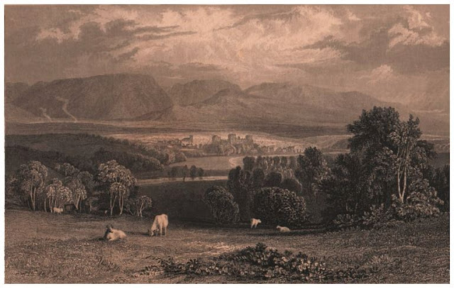 Sepia print of mountains, river, trees, town in distance