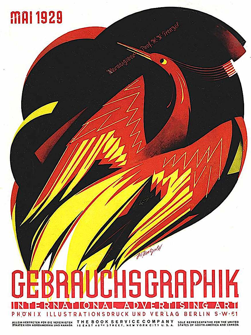 Julius Klinger, Gebrauchsgraphik 1929, flaming phoenix rising