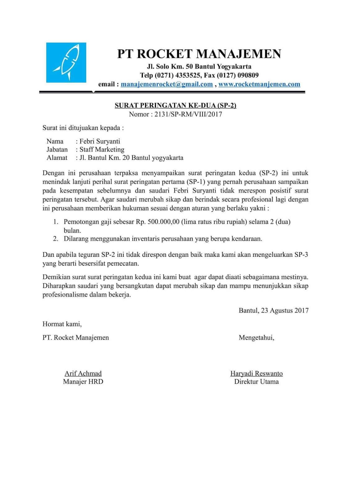 Contoh Surat Pernyataan Pelanggaran Karyawan