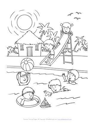Tranh tô màu thiếu nhi vui chơi trong bể bơi