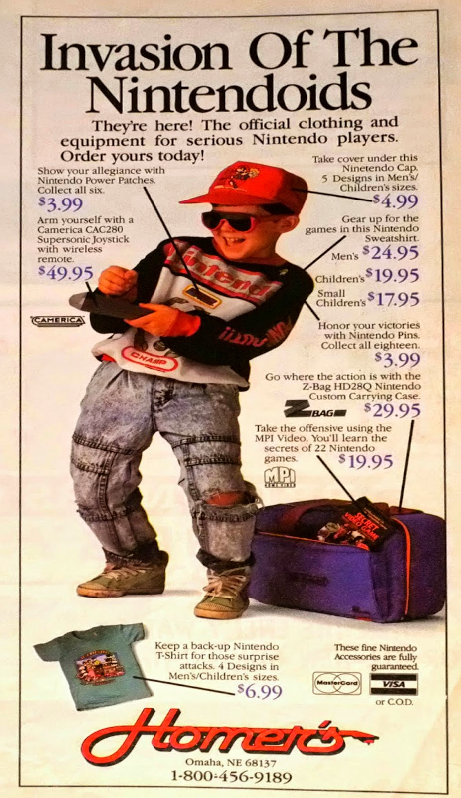 Homer's Nintendo Gear & Clothing advertisement