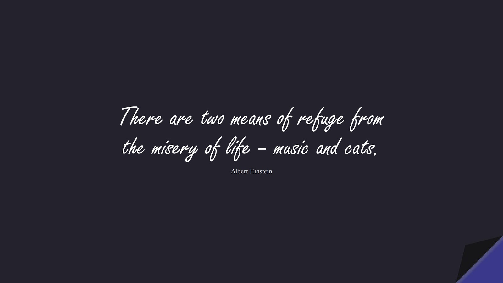 There are two means of refuge from the misery of life – music and cats. (Albert Einstein);  #AlbertEnsteinQuotes