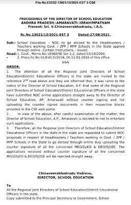 School Education – NOC to go abroad to the Headmasters / Teachers working Govt. / ZPP / MPP Schools in the State applied through online – Certain Instructions – Issued