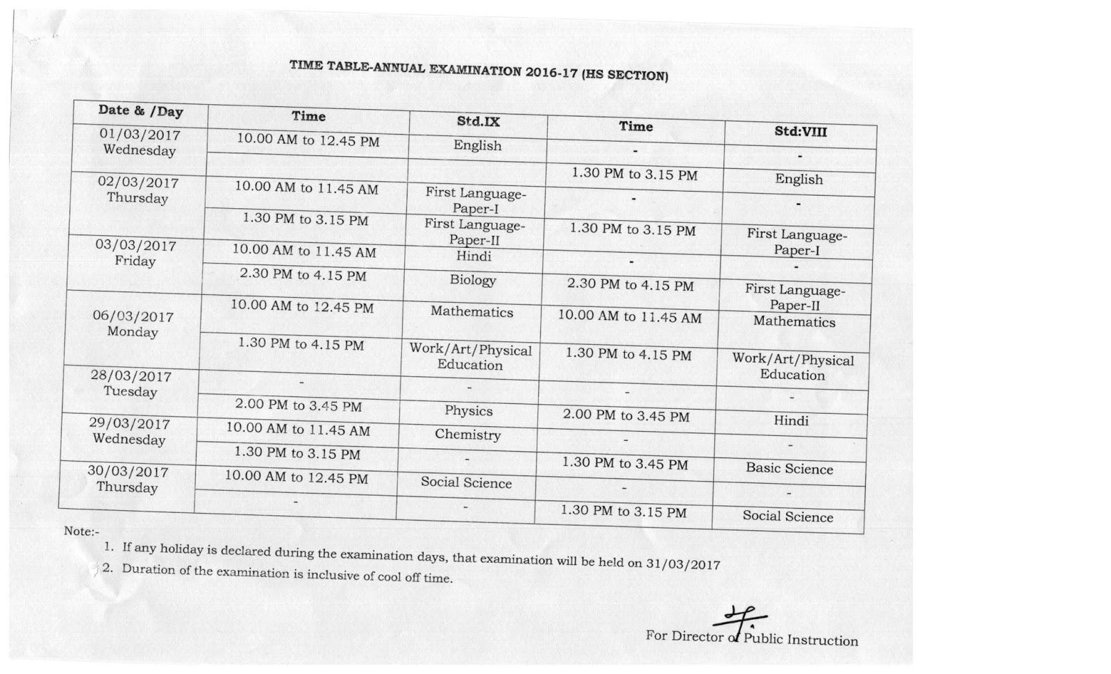 ബി.ആര്.സി മലപ്പുറം: ANNUAL EXAM TIME TABLE-2016-17