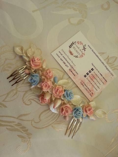 tocado de rosas de porcelana para novia romántica