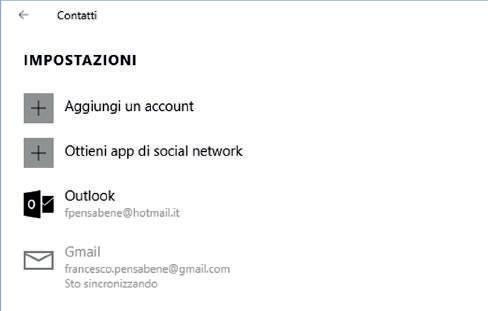 Come aggiungere un account app contatti Windows 10