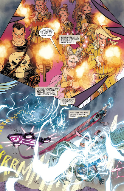 Punisher and Light Elves using their guns and Thor using his Thunder