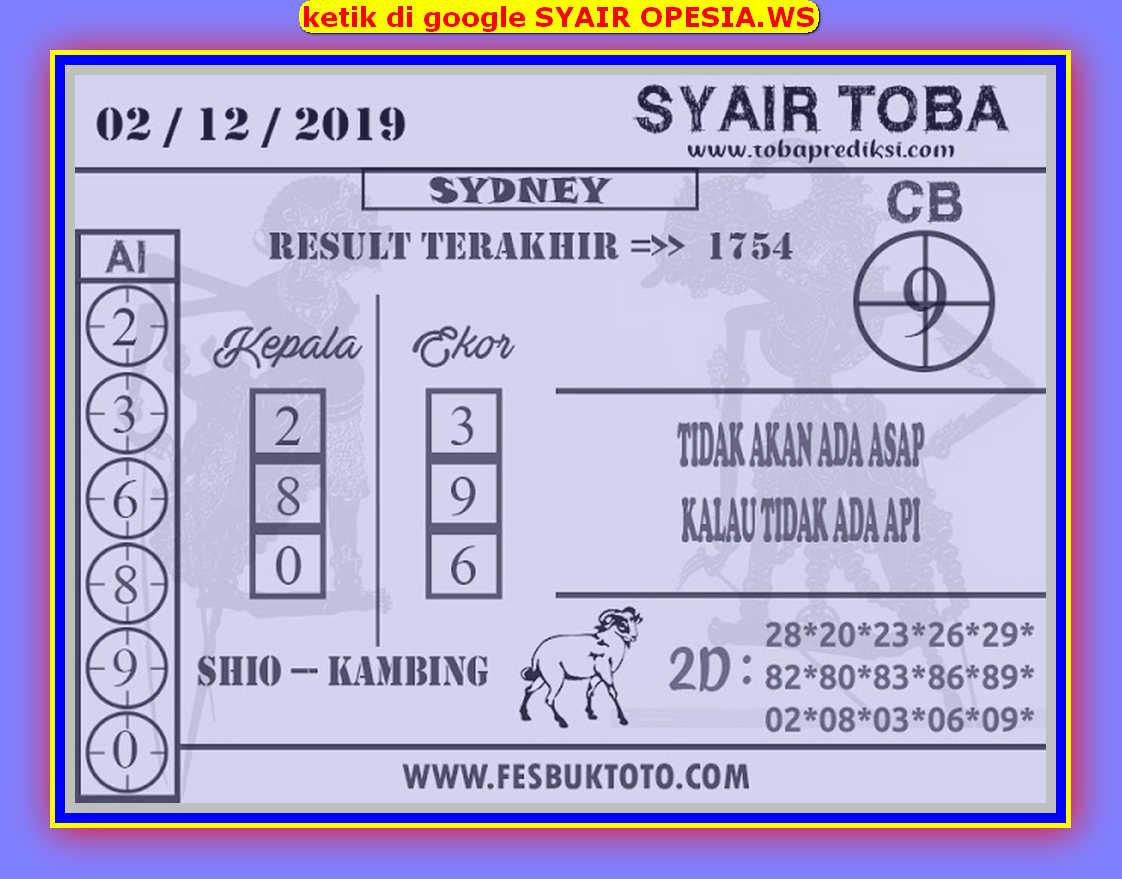 Kode syair Sydney Senin 2 Desember 2019 53