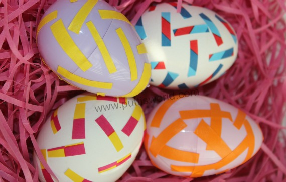 Tape decorated eggs for easter kids