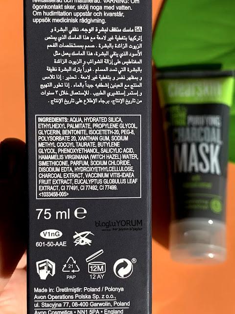 avon clearskin pore shine kömür maske içerik