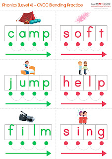Mama Love Print 自製工作紙 - Phonics Resources 英文拼音練習工作紙和閃卡 CVCC Practice Worksheets and Flashcards for Blending Exercise 英文拼音4個英文字母組合的練習 Freebies Download